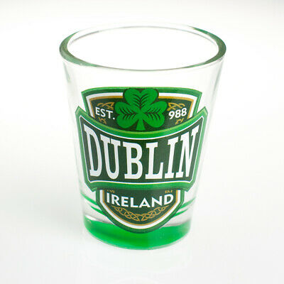 Loose Shot Glass With Dublin, Ireland And Green Shamrock Design