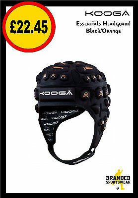 Kooga Essential Rugby Head Guard Black/Orange Boys/Kids Adults/Mens SMB MDB M L