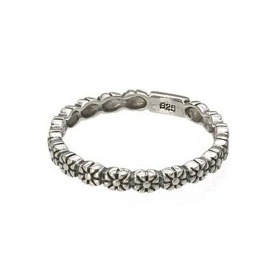 Sterling Silver Daisy Chain  Stacking  2mm Band Ring In Sizes G,-Z