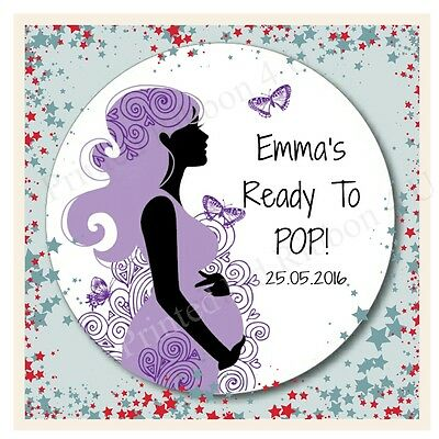15 Round Personalised Cute She's Ready To Pop! Baby Shower Sticker Labels