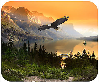 Mouse Pad Custom Personalized Thick Mousepad-Mountains At Sunset With Boat