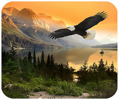 Mouse Pad Custom Personalized Thick Mousepad-Mountains At Sunset With Bald Eagle