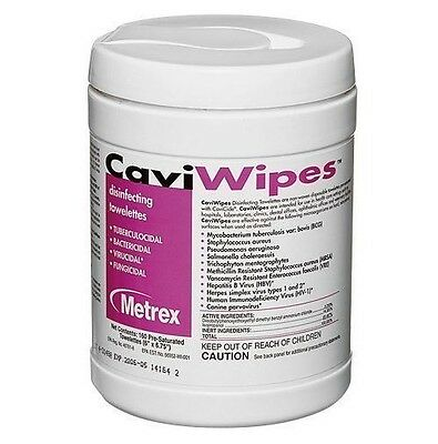 LOT OF 2 - CaviWipes by Metrex Surface Disinfectant Wipe, 160 Count Canister