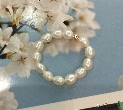 Stunning Freshwater Pearl &14ct/14k yellow gold filled ring white size ajustable