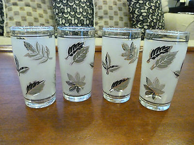 "Vintage Set of 4 Libbey Silver Leaf Pattern 4"" 5oz Flat Tumblers or Glasses"