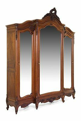 Antique Louis XV Style Three-Door Walnut Armoire