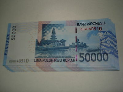INDONESIAN 50,000x50 Pieces=2 1/2 Million Rupiah,IDR,GEM Uncirculated Banknotes