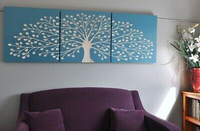 Natures Gift-Turquoise-Carved Tree Timber Wall Art-Deco 3 Panel Wood Carving
