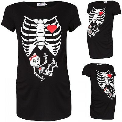 Happy Mama. Women's Maternity Skeleton Girl Print T-shirt Halloween Shirt. 504p