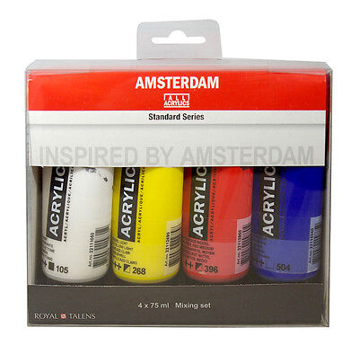 Amsterdam Acrylic Primary Colour Paint Set 4 x 75ml