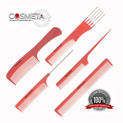 Head Jog Professional Hairdressing Cutting Pintail Metal Pin Detangle Comb Pink