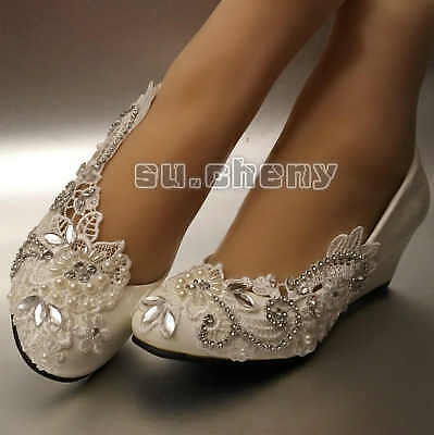 Asymmetry lace crystal Wedding shoes flat low high heel wedges bridal size 5-12