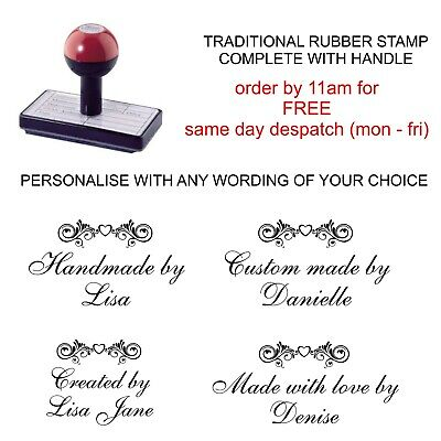 Personalised Custom Handmade By Rubber Stamp Bespoke Card Making Crafts Hobby