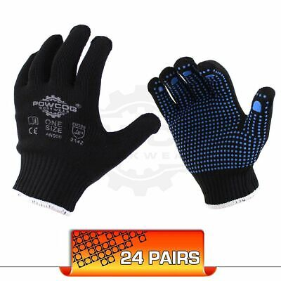24 Pairs Nylon Safety Gripper Work Gloves | BLUE PVC Polka Dots | PPE Warehouse
