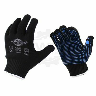1 x Pair Nylon Safety Gripper Work Gloves | BLUE PVC Polka Dots | PPE Warehouse
