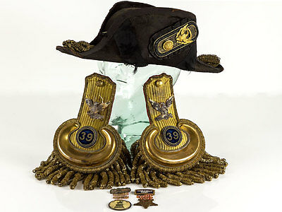 US Civil War Bicorn Hat Medals & 39th New York Inf Reg Epaulette`