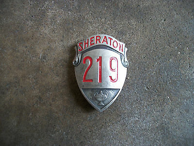 vintage 1950 Sheraton Hotel employee bell hop ID pin badge F
