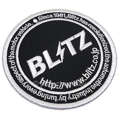 Blitz 18941 Circle Logo Embroidered Patch Iron On Sew On Black Genuine JDM