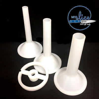 Set Of 3 Sausage Funnels & Support - Suits #22 Mincers(Electric or Manual)