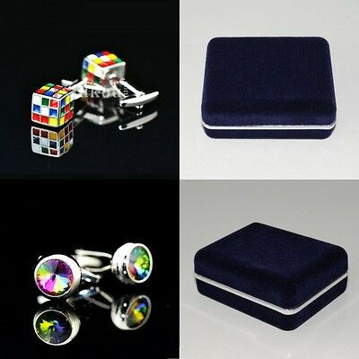 Mens Stainless Steel Business Silver Shirt Rubik's Cube Cufflinks Wedding Party
