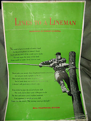 VINTAGE 1953 BELL TELEPHONE LINEMAN ADVERTISING ILLUSTRATED by NORMAN ROCKWELL!!