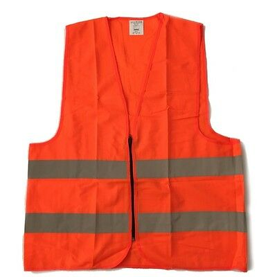 High Visibility Neon Orange Safety Vest with Reflective Strips and Zipper XL
