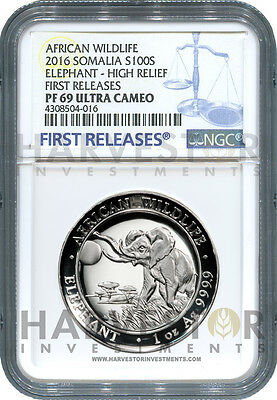 2016 Somalia High Relief Silver Elephant - Certified Ngc Pf69 First Releases