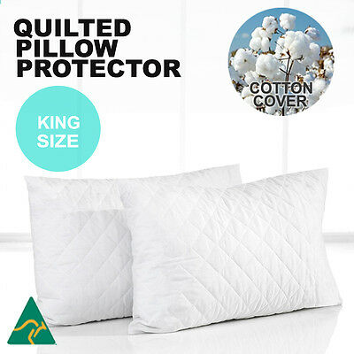 2x King Size Aus Made Luxury Pillow Protectors-Quilted Cotton Cover-Anti-Allergy