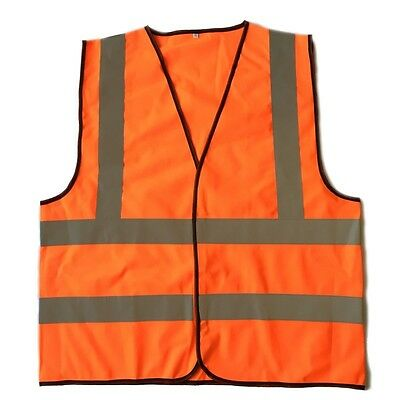 """High Visibility Neon Orange Safety Vest with Reflective 2"""" Strips Contruction XL"""