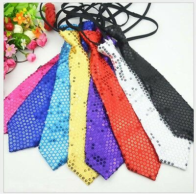 Polyester Women Men Paillette Sequins Necktie for Party Wedding Daily Wear