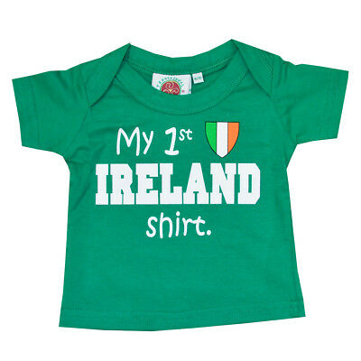 Green Kid's T-Shirt With 'my 1St Ireland Shirt' & Tricolour Crest Print