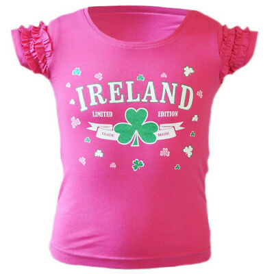 Pink Kid's T-Shirt With Ireland Limited Edition Shamrock Print