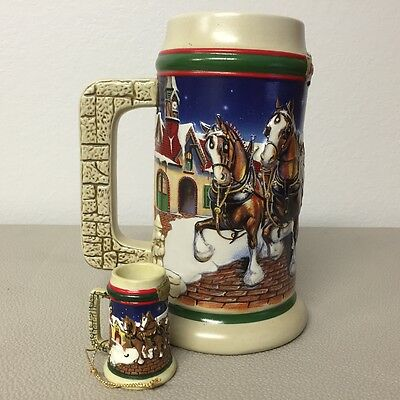 1998 Budweiser Holiday Stein with matching Ornament   Lot 21-0300