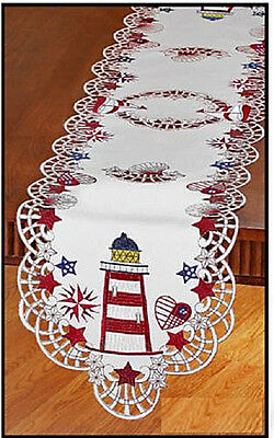 Embroidered Nautical Lighthouse Table Runner with Sailboat Stars Hearts Compass