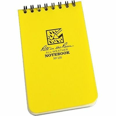 """Rite in the Rain 135 All-Weather Universal Spiral Notebook, Yellow, 3"""" x 5"""""""