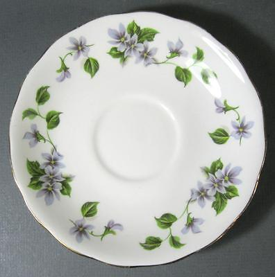 Shabby vintage Queen Anne English bone china saucer purple violets flowers chic