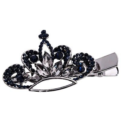 USA Hair Clip Claw Jaw using Swarovski Crystal Hairpin Vintage Crown Gray Blue