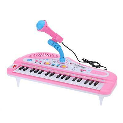 Kids Electronic Toy Rockstar Keyboard Piano Tune With Microphone PINK NEW X7P8