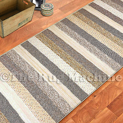 ETERNITY STONE BEIGE PATTERNED STRIPES FLOOR RUG RUNNER 80cm WIDE **ANY LENGTH**