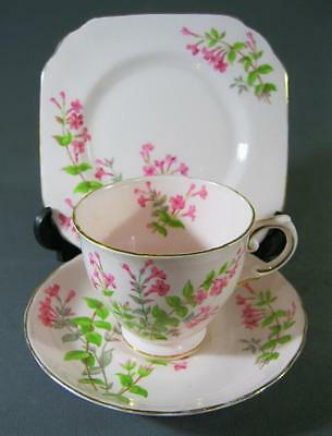 Shabby vintage trio Tuscan English pink bone china floral motifs -gilt  chic