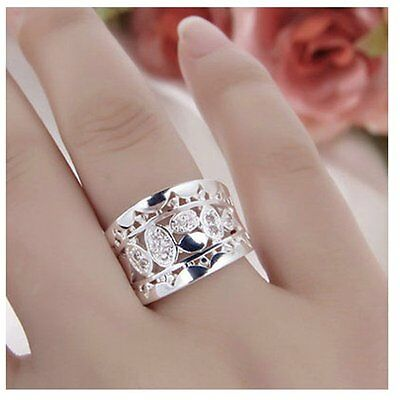 HOT! Women New Fashion Natural Crystal 925 Solid Sterling Silver Ring Size 7 8