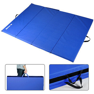 Hug Flight 6FT Four Folding Gymnastics Mats Thick Exercise Fitness Physio Blue