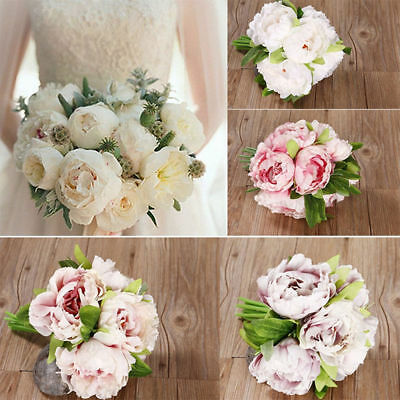 1 Bouquet 5 Heads Artificial Fake Peony Silk Flower Wedding Party Home Decor