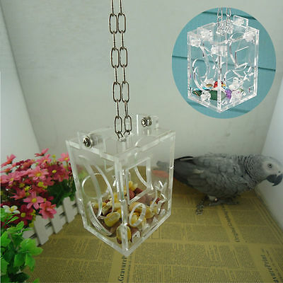 Parrot Bird Cage Food Feeding Feeder Hang Swing Foraging Treat Educational Toy