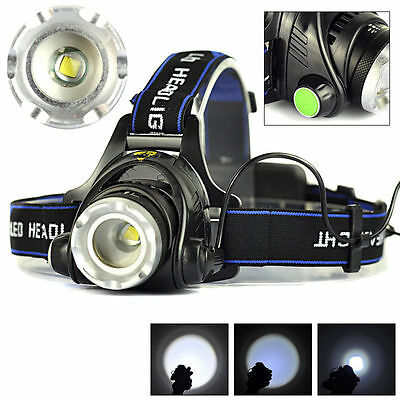 5000LM Zoomable XML T6 LED 18650 HeadLamp Torch HeadLight Rechargeable Head Lamp