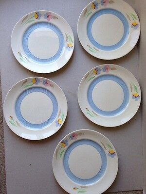 Beautiful Vintage Art Deco 30s 40s Handpainted Dinner Plates English x 5
