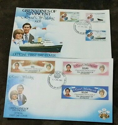 Gren of Vincent 1981 Royal Wedding (Charles & Diana) set on official FDC x 2