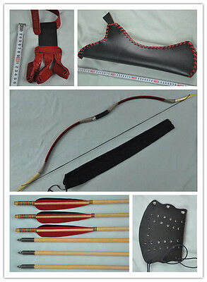 Red pigskin Hunting Longbow With 6 Wooden Arrows Finger Arm guard Quiver 06
