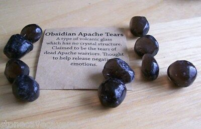 APACHE TEARS 12mm x 12mm - PACK 10 GENUINE NATURAL APACHE TEARS WITH POUCH