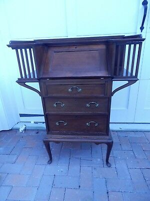"Antique Victorian Mahogany Queen Anne Secretary Desk 39.5""h x 31.25""w x 16.25""d"